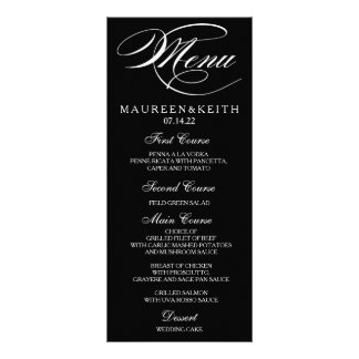 Black and White Custom Wedding Dinner Menu Card