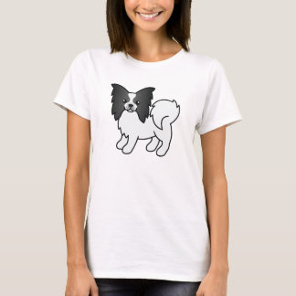 Black And White Cute Papillon Cartoon Dog T-Shirt