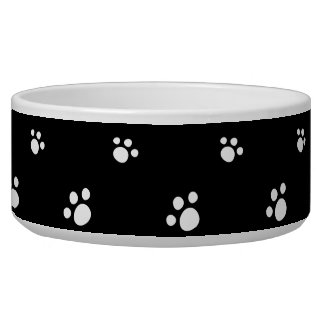 Black And White Cute Puppy Dog Paw Print Pattern