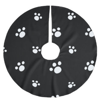Black And White Cute Puppy Dog Paw Print Pattern Brushed Polyester Tree Skirt