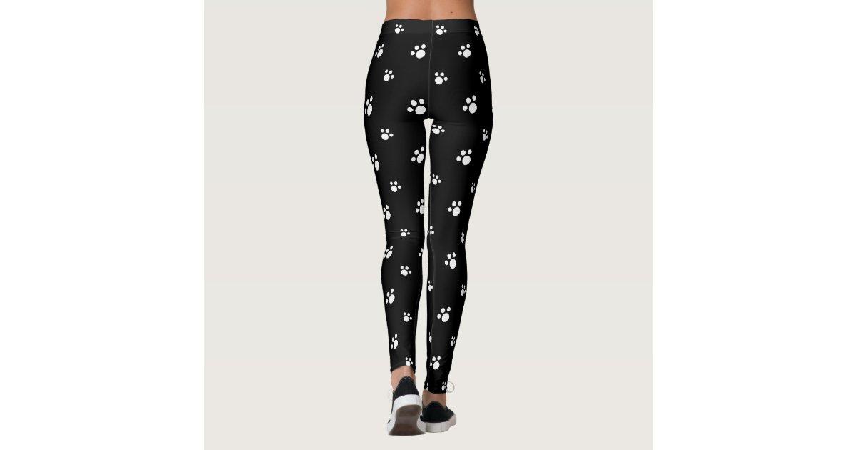 8a85c0d55e3b0b Black And White Cute Puppy Dog Paw Print Pattern Leggings | Zazzle.co.uk