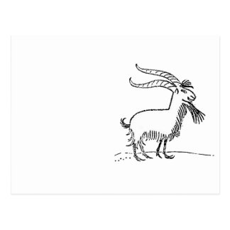 Black and White Cute Smiling Goat Cartoon Postcard