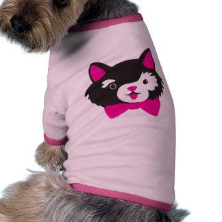 Black and White Cutie CAT Ringer Dog Shirt