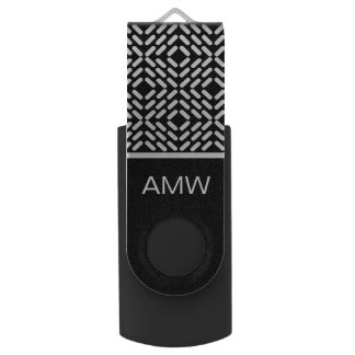 Black and white cylinder pattern swivel USB 2.0 flash drive