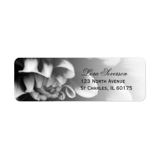 Black and White Dahlia Flower Return Address