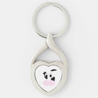 Black and White Dairy Cow or Bovine's face Silver-Colored Twisted Heart Key Ring