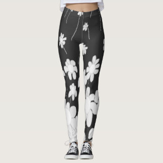 Black and white Daisies leggin Leggings