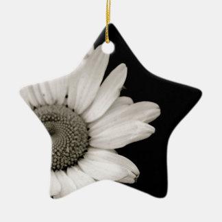 Black and White Daisy Flower Christmas Ornament