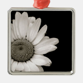 Black and White Daisy Flower Christmas Ornament