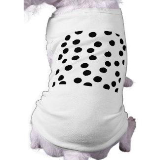 Black and White Dalmatian Spot Pattern. Sleeveless Dog Shirt
