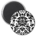 Black and White Damask 6 Cm Round Magnet