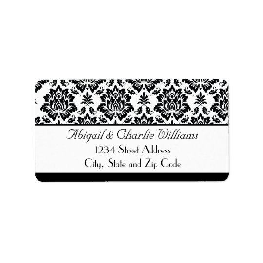 Black and White Damask Address Label