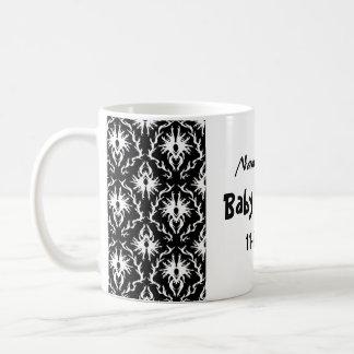 Black and White Damask Baby Shower Basic White Mug