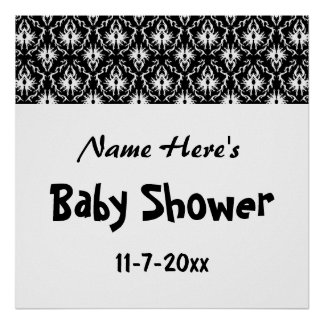 Black and White Damask Baby Shower Print