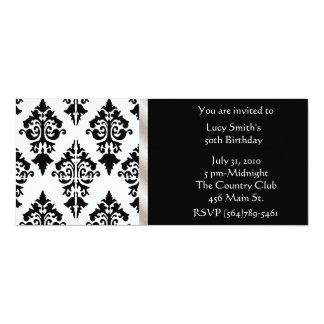 Black and White Damask Birthday Invitation