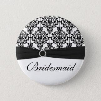 Black and White Damask Bridesmaid Pin