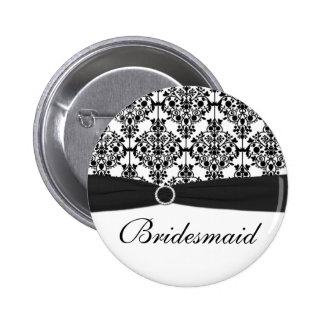 Black and White Damask Bridesmaid Pin