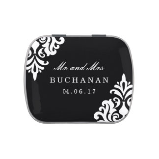 Black and White Damask Candy Wedding Favours Jelly Belly Candy Tins