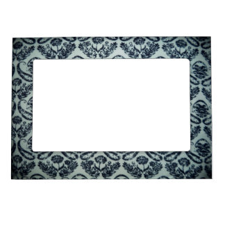 Black and White Damask Design Magnetic Frame