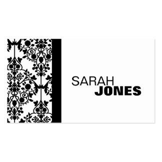 Black and White Damask Elegant Business Card
