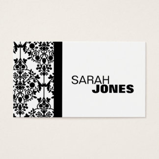 Black and White Damask Elegant Business Card