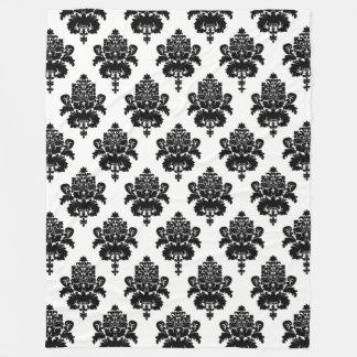 Black and White Damask Fleece Blanket