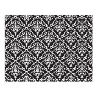 Black and White Damask Floral Postcard
