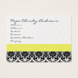 Black and White Damask Floral  with Yellow Ribbon Business Card