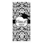 black and white damask flourish graduation customised rack card