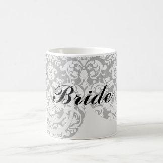 black and white damask flourish mugs