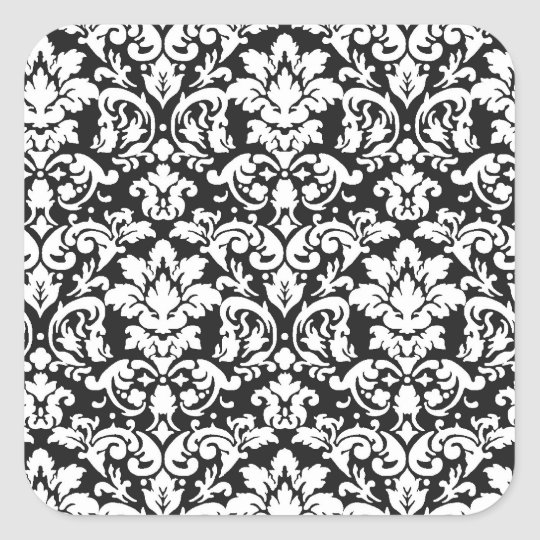 black and white damask flourish square sticker