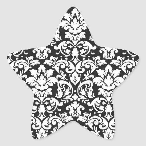 black and white damask flourish sticker