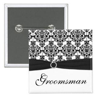 Black and White Damask Groomsman Pin