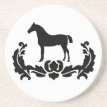 Black and White Damask Horse Coasters