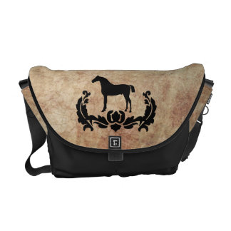Black and White Damask Horse Courier Bags