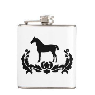 Black and White Damask Horse Hip Flask