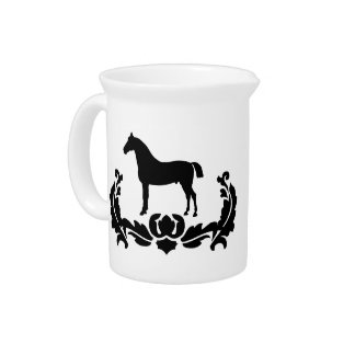 Black and White Damask Horse Pitcher