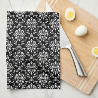 Black and White Damask Kitchen Towel