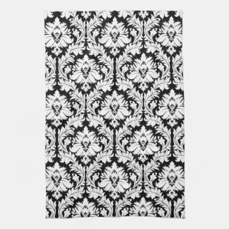 Black and white Damask Kitchen Towel