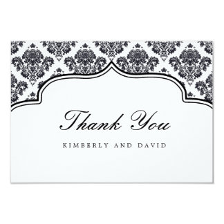 Black and White Damask Label Thank You Card Personalized Invitations