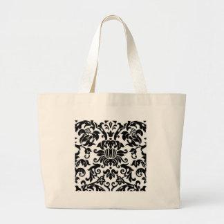 Black and White Damask Large Tote Bag