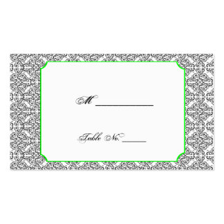 Black and White Damask Lime Wedding Place Cards Pack Of Standard Business Cards