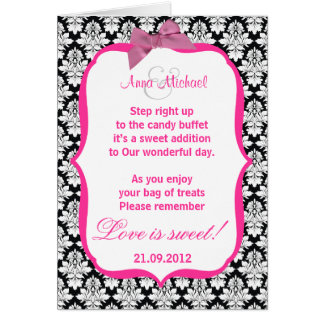 Black and White damask Love is sweet Poem Card