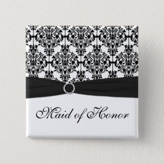 Black and White Damask Maid of Honor Pin