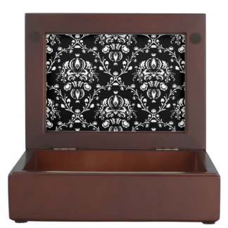 Black and White Damask Memory Boxes