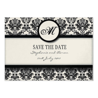 Black and White Damask Monogram Save The Date Card