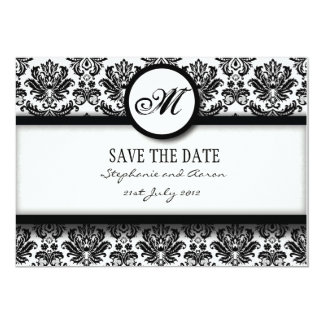Black and White Damask Monogram Save The Date Card 13 Cm X 18 Cm Invitation Card