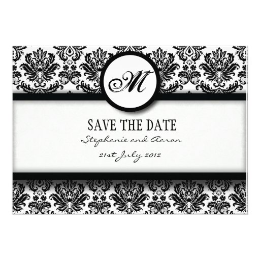 Black and White Damask Monogram Save The Date Card Invite