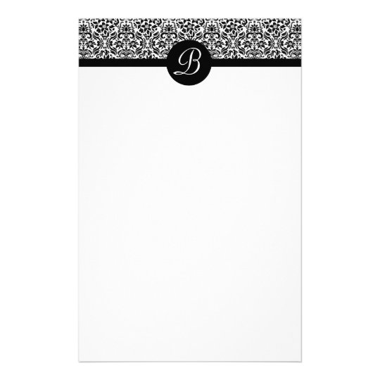Black and White Damask Monogrammed Stationary Stationery