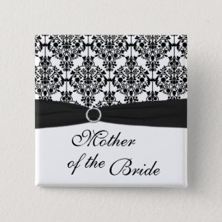 Black and White Damask Mother of the Bride Pin